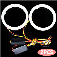 2x COB LED Angel Eyes Halo Ring Kit Lamp Light With Turn Signal White Amber 12V