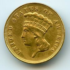 Genuine 1878 U.S. $3 Gold Indian Princess Gold Coin, XF/AU Details