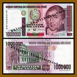 Peru 1000000 (1 Million) Intis, 1990 P-148 Circulated