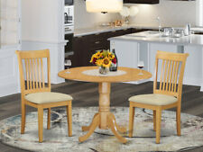 3pc dinette round drop-leaf pedestal kitchen table + 2 padded chairs light wood