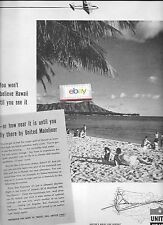 UNITED AIRLINES 1948 YOU WON'T BELIEVE HAWAII TIL YOU SEE IT DC-6 MAINLINER  AD
