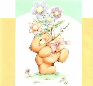 Teddy Brown Bear & Flower Pot Forever Friends Note Cards Hallmark - Set of 10