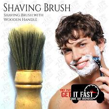 Nuevo De Alta Calidad para Hombre Suave Brocha de afeitar con mango de madera navaja de afeitar barbero + Gratis