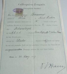 Signatur Meteorologe Julius von HANN, auf Colloquien-Zeugnis Uni WIEN 1897