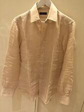 ZARA Man camicia lino beige misura 38 tg small S maniche lunghe collo ita