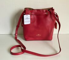 NEW COACH DERBY TRUE RED LEATHER BUCKET CROSSBODY SLING MESSENGER BAG PURSE $250