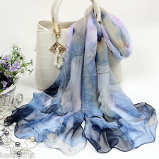 Fashion Women's Blue Lotus Flower Print Long Chiffon Scarf Wrap Shawl Stole