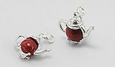 Solid Sterling Silver Red Coral Teacup Charm Bracelet Pendant Necklace CUTE
