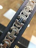925 Sterlingsilber HERREN König Byzantiner Armband Kette 13MM 69GR Massiv Schwer