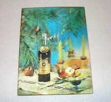 Very Rare Vintage USSR Stereo Postcard CHRISTMAS / NEW YEAR / BOTTLE OF COGNAC