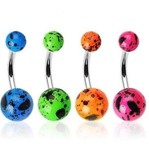 NEON COLOR SPLAT UV BALL BELLY NAVEL RING STEEL BUTTON PIERCING JEWELRY B280