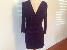 NEW Motherhood Maternity V Neck 3/4 Sleeve Black Purple Stripe Pattern Top M
