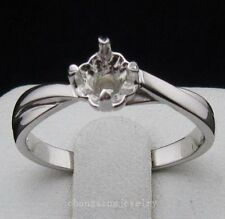 Free Shipping 925 Sterling Silver 5.5x5.5mm Round Shape Semi Mount Ring Jewelry