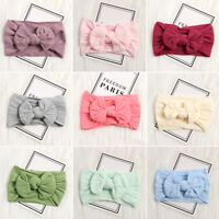 Baby Girls Kids Cute Bowknot Turban Nylon Headband Elastic HairBand-Headwrap