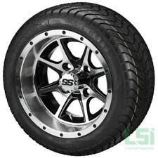 Set of 4 - 215/40-12 DOT Tire on a 12x7 Black/Machined Azusa Wheel