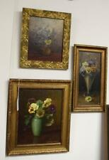 THREE FLORAL OIL PAINTINGS: Lot 310
