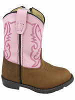 Smoky Mountain Toddler Hopalong Western Cowboy Boot Leather Round Toe Pink/Brown