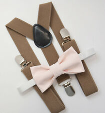 Kids Boys Mens Taupe Brown Suspenders & Pale Blush Pink Bow tie Baby - ADULT SET