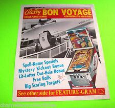 BON VOYAGE By BALLY 1975 ORIGINAL PINBALL MACHINE PROMO SALES FLYER