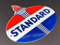 """VINTAGE """"STANDARD GASOLINE"""" TORCH & FLAME 11 3/4"""" PORCELAIN METAL GAS & OIL SIGN"""