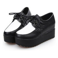 Woman High Platform Flats Lace Up Oxfords Round Toe Creeper Shoes Brogues