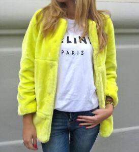 Neu ZARA Fake Fur Kunstfell Jacke Mantel Neon Gelb Teddy S/M