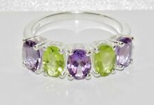 Sterling Silver Peridot & Amethyst 5 Stone Ring - Real 925 Silver - All Sizes