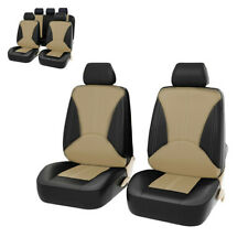 Seat Protect Cover PU Leather Front Rear Full Set Black+Beige Fit For Car Truck