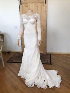 David's Bridal Truly Zac Posen Lace Long Sleeve Wedding Dress Ivory Size 4 NWT