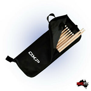 Drum Stick Bag with 5 Pairs of Nylon Tip Drum Sticks Zippered Bag with Hooks