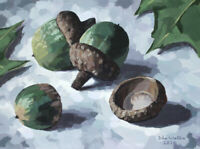 Original Still Life Painting - Three Acorns - (9 x 12 inch) by John Wallie