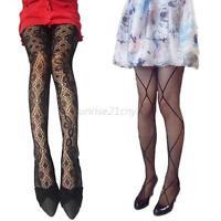 Women Black Sexy Fishnet Lace  Jacquard Stockings Pantyhose Tights New Hot