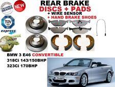 für BMW 3 E46 Cabrio 01-07 Bremsscheiben SET HINTEN+BELÄGE SET +Sensor +Schuhe