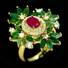 NATURAL GREEN EMERALD RUBY & CZ RING 925 SILVER STERKING SZ7