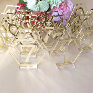 Acrylic Signs Decor Reception Wedding Geometric Table 1-20 Numbers Stand Hexagon