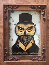 Owl in Suit Top Hat Original Oil Painting by Dion Terry Steampunk Fantasy Gothic