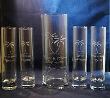 6  pc Wedding Unity Sand Ceremony Set w 9 x 3 vase w Palm Trees