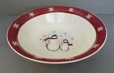 "Royal Seasons Snowman 10"" Serving/Vegetable Bowl Red Band Snowflakes Winter"