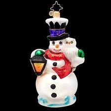Radko Frosty Midnight Meeting Snowman & Owl Glass Ornament Made in Poland