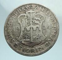 1924 SOUTH AFRICA under UK King GEORGE V Genuine Silver Florin Coin i79629