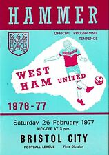 Football Programme>WEST HAM UNITED v BRISTOL CITY Feb 1977