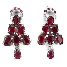 """40 CTS! ALLURING! NATURAL TRANSPARENT RICH BLOOD RED RUBY SILVER EARRINGS 1"""""""