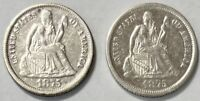 1875 P & S Seated Liberty Dime 10c - Extremely Fine (XF) - 2 Coin Lot
