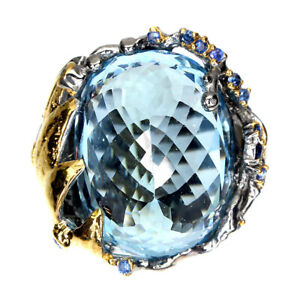 Handmade Oval 29 Ct Sky Blue Topaz Blue Sapphire 925 Sterling Silver Ring Size 8