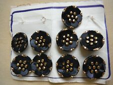 VINTAGE BUTTONS 9 BLACK & GILT ROUND BUTTONS 1930 s  ALL EXCELLENT CONDITION