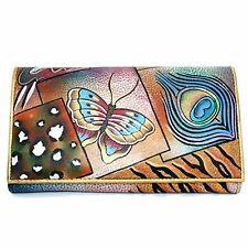 Anuschka Genuine Leather Hand Painted Clutch Wallet (Butterfly Peacock Collage)