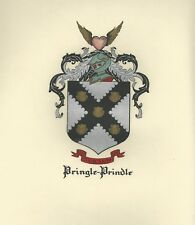 Great Coat of Arms Pringle-Prindle Crest genealogy, would look great framed!