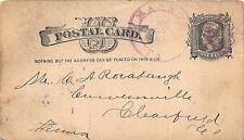 Marron PA 1883 Color Date Iron Cross Cancel Postal Card