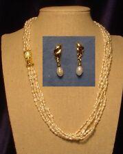 "A 5-strand Fresh-water Pearl 26"" Necklace-Bracelet Combo + Earrinsg, Versatile"