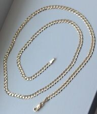 "14K Solid Yellow Gold 3mm Cuban Link Chain Necklace Men Women Size 14""-36"""